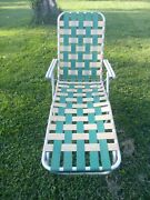Vintage Aluminum Folding Lawn Chair Chaise Lounge Green And Yellow