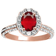 Ruby Halo Engagement Ring 14k Rose Gold Over 925 Sterling Silver