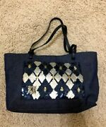 Givenchy Sequin/denim Totebag Leather Strap A Condition