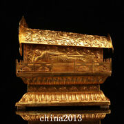 Chinese Old Dynasty Palace Temple Bronze 24k Gilt Buddha Statue Coffin Statue