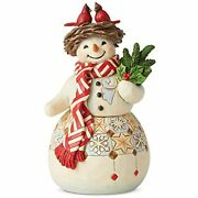Jim Shore Heartwood Creek Snowman With Cardinal Nest Home Is Wherever You Are