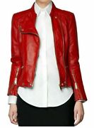 Red Motorcycle Stylish Women Genuine Lambskin Real Leather Jacket For Valentine