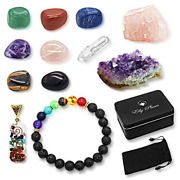 Ellypluses Natural Healing Crystals Set 12 Pcs Chakra Stones With Amethyst Rose