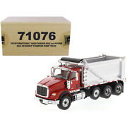 International Hx620 Tandem Axle With Pusher Axle Ox Stampede Dump Truck Red A...