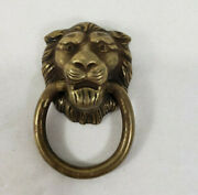 Vintage Brass Lion Head With Ring Drawer Pull Cabinet Knob Back Stamp A