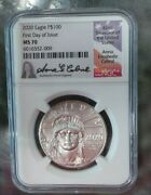 2020 1 Oz Platinum American Eagle Ms-70 Ngc First Day Of Issue Signed