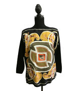Hermes Scarf Switching 3/4 Sleeve Knit Women
