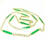 Collier Long Vintage Ans And03960 Made In Italy Or Massif 18k Et Pandacircte Vitrea