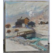 Vintage 1949 Rare Swiss Original Chalets Winter Oil Canvas Painting Signed Laa