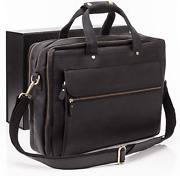 Luxorro Leather Briefcases For Men Spacious But Compact | Fits 15.6 Inch Black