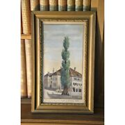 Vintage 20th Swiss Original Tree Liberty Rolle Oil Paper Painting Signed Brossy