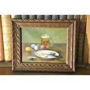 Antique 1907 Original Still Life Easter Oil Canvas Painting Signed G.berger