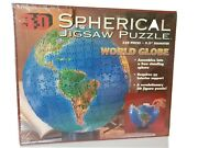 New 3d Spherical Jigsaw Puzzle Antique Globe 530 Pieces Stand 9.5 Diameter.