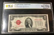 1928f Series Two Dollar Red Seal United States Note Pcgs 64 Ppq Consecutive S