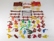 Lot Of 50 Vtg Mpc Early Ring Hand Cowboys Indian Horses Soldiers Plastic Toy Set
