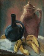 Aldo Scabbia, Still Life Fruit And Vases Important Oil Painting Signed Rare