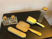 Vintage Art Deco Gold Colored Gentleman's Dressing Table Vanity Set Made In Usa