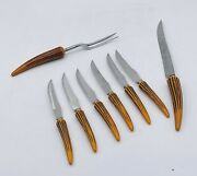 Vtg Sheffield E. Parker And Sons 7 Knives And Serving Fork Simulated Stag Handle J9