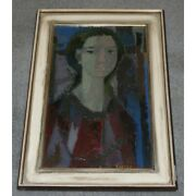 Vintage 20th Swiss Original Young Woman Oil Canvas Painting Signed Bodjol