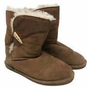 Bearpaw Womens Boots Short 'abigail' Hickory Ll Size 10 Tan Suede Sherpa Lined