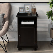 Bedside Table Cabinet Nightstand Side Table End Table With Shelf Storage