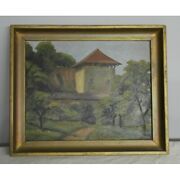 Vintage 20th Rare Original House Oil Pavatex Painting Signed A.barbey