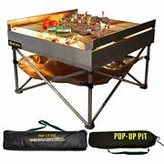 Pop-up Fire Pit - Portable Outdoor Fire Pit And Bbq Grill | Packs Down Smalle...