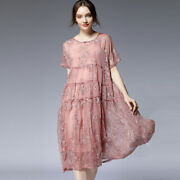 Womenand039s Loose Patchwork Embroidered Two Piece Dresses Short Sleeve Elegant Dress