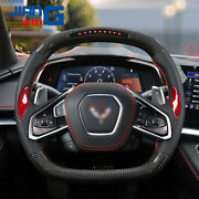 Lcd Black Carbon Fiber Steering Wheel With Red Thumb Grips Fit In Corvette C8