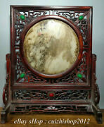 16 Old China Redwood Inlay Gem Marble Stone Carving Hollow Out Folding Screen