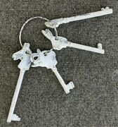 White Painted Cast Iron Skeleton Keys With Animal Heads On Metal Ring 8 1/2 L
