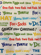 Celebrate Seuss By Kaufman Book Titles On White Kids Cotton Fabric Hy