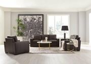 Coasters Furniture Boardmed Dark Brown Leather Sofa And Loveseat Living Room