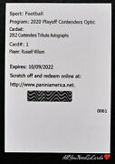 Russell Wilson Autograph /25 2020 Contenders Optic 2012 Tribute Auto Redemption