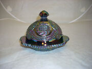 L.e. Smith Art Glass Amethyst Carnival Item Hobstar Covered Butter Dish Exc.