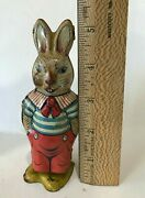 Vtg 1950s Tin Wind-up Peter Rabbit Easter Bunny Toy J. Chein And Co. Usa Works