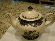 Black Toile Teapot With Lid By Burton And Burton Excellent Condition - Collector
