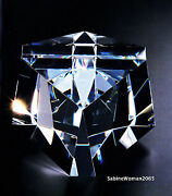 New In Box Steuben Glass Cubique Cube Ornament Paperweight Prism Galaxy Star Art