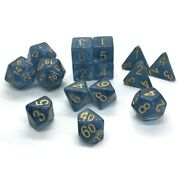 15ct Blue Jade Shoes Style Polyhedral Dice Set Gold Numbers Large Size
