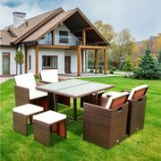 Us 9pcs Patio Dining Sets Outdoor Garden Rattan Chairs With Glass Tableandcushion