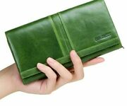 Cow Leather Long Clutch Wallet Women's Genuine Leather Solid Pattern Wallets New