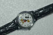 Vintage Lorus V515-6080 Mickey Mouse Watch Quartz 25mm Speidel 8and039and039 Leather Strap