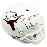 Mack Brown And Vince Young Autographed Texas Longhorns Schutt White Replica Full