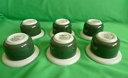 Vintage Retro Rorstrand Vdn P555 Sweden Set Of Green And White 6pcs. Egg Cups Cup