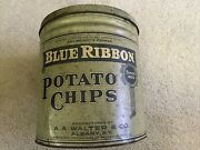 Blue Ribbon Potato Chip Vintage Tin Can Walter And Co. Albany New York