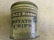 Blue Ribbon Potato Chip Vintage Tin Can, Walter And Co., Albany, New York