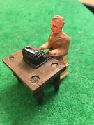 Vintage Barclay Manoil Lead Toy Soldier Sitting At A Table Typing Same Day Del