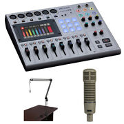 Zoom Podtrak P8 8-channel Podcasting Mixer W/ Electro-voice Mic And Broadcast Arm