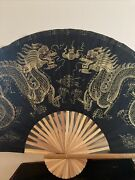 Vintage Chinese Oriental Dragon Hand Painted Silk Folding Bamboo Wall Fan 56andrdquo
