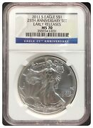 2011-s Ngc Ms70 25th Anniversary American Silver Eagle 1